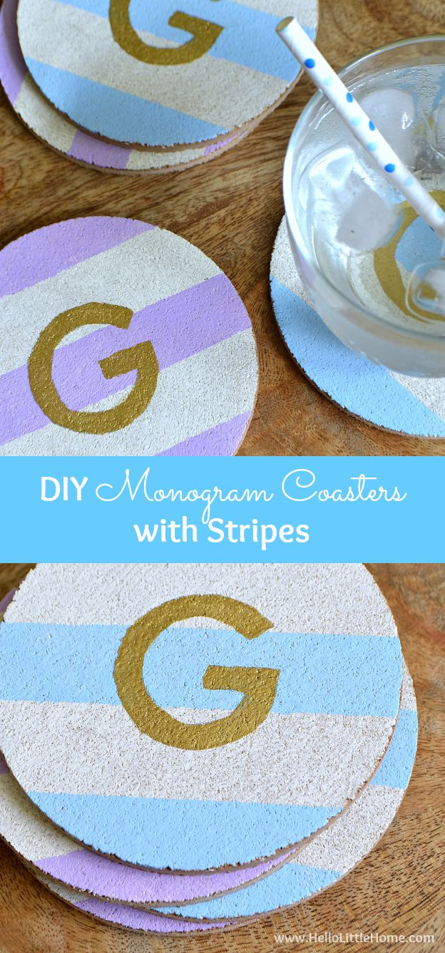 These DIY Monogram Coasters with Stripes are the perfect coffee table accessory, plus they make a great gift!   Hello Little Home