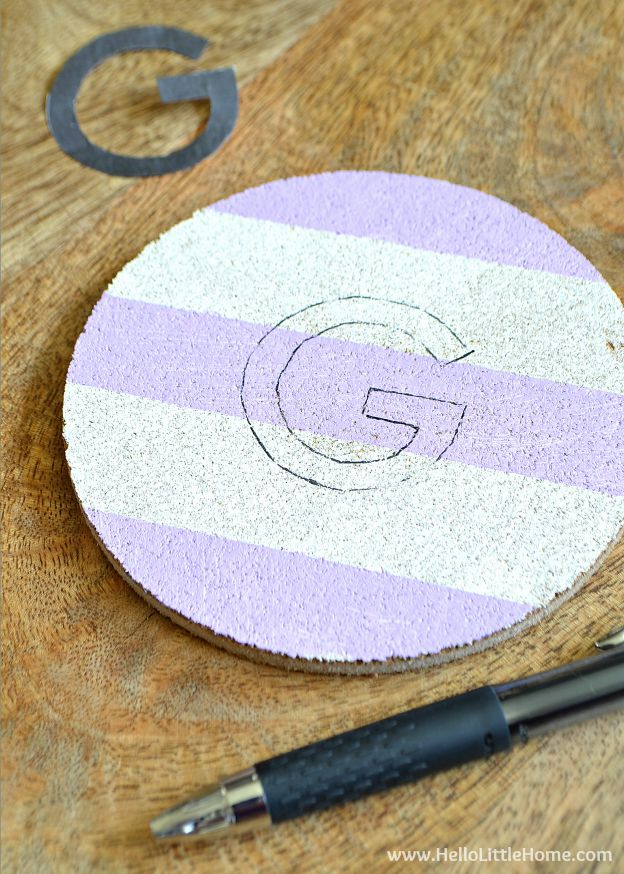 Step-by-step instructions for making DIY Monogram Coasters with Stripes!   Hello Little Home