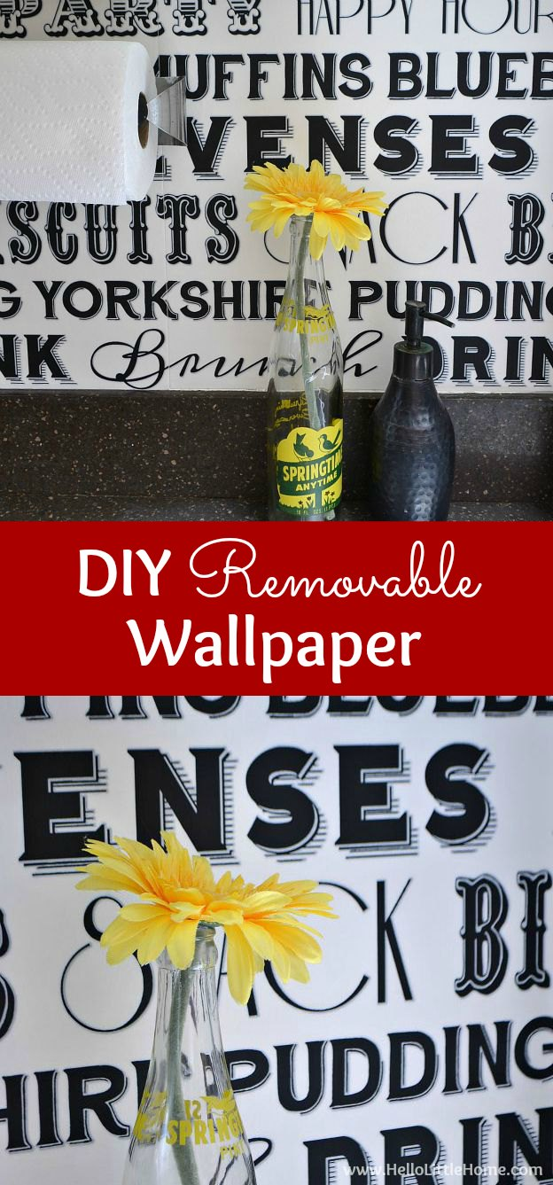 DIY Removable Wallpaper ... create a beautiful accent wall in your kitchen, bathroom, or other small space with this fun tutorial! This DIY removable wallpaper is the perfect project for renters or anyone who wants a cheap and easy update. Makes a great kitchen or bathroom backsplash! | Hello Little Home