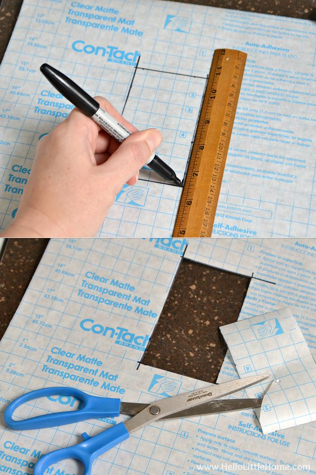 Step by step tutorial for DIY Removable Wallpaper. Create a beautiful accent wall in your kitchen, bathroom, or other small space with this fun tutorial! This DIY removable wallpaper is the perfect project for renters or anyone who wants a cheap and easy update. Makes a great kitchen or bathroom backsplash! | Hello Little Home