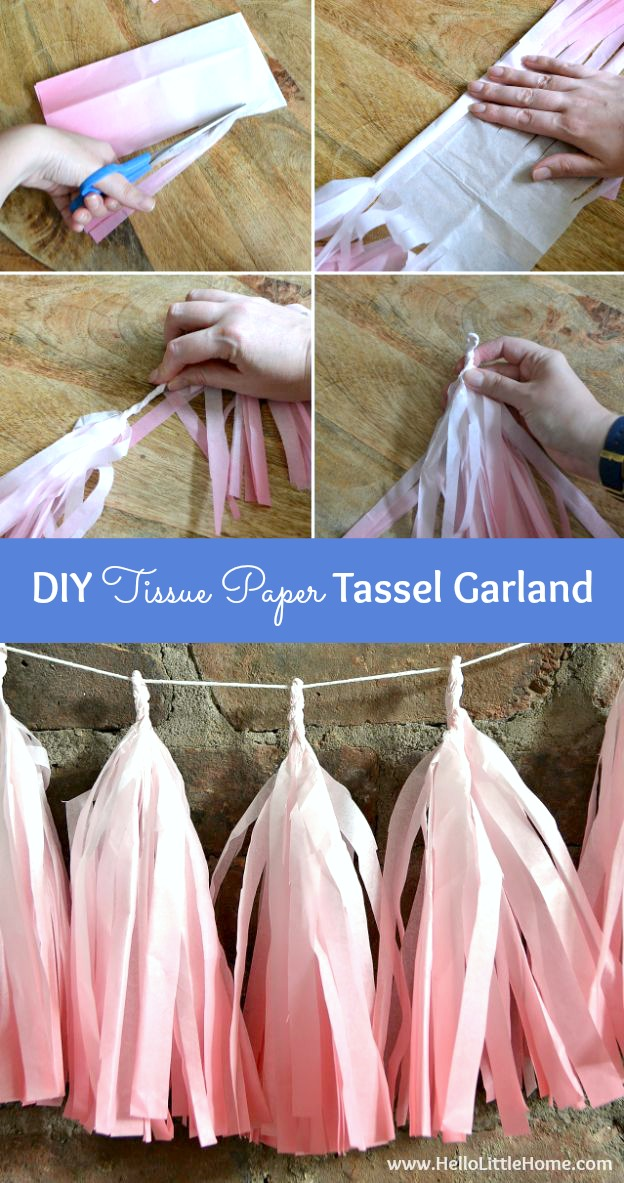 Step-by-step instructions for making a DIY Tissue Paper Tassel Garland + 7 more easy party decorating ideas! | Hello LIttle Home