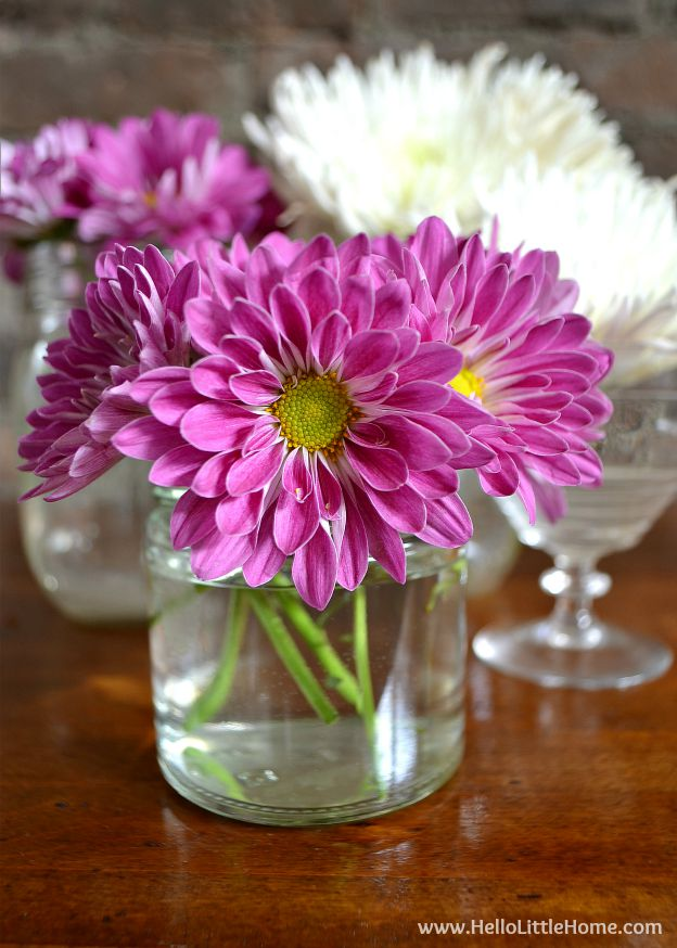 Learn how to make this easy and inexpensive flower arrangement!   Hello Little Home