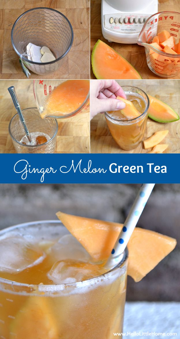 Easy recipe for a refreshing Ginger Melon Green Tea! | Hello Little Home