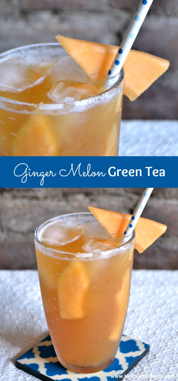 Cool off with a refreshing Iced Ginger Melon Green Tea! This iced green tea drink is so simple to make with fresh cantaloupe and ginger. It's simple to make and so delicious! | Hello Little Home #icedtea #icedgreentea #tea #summerdrinks