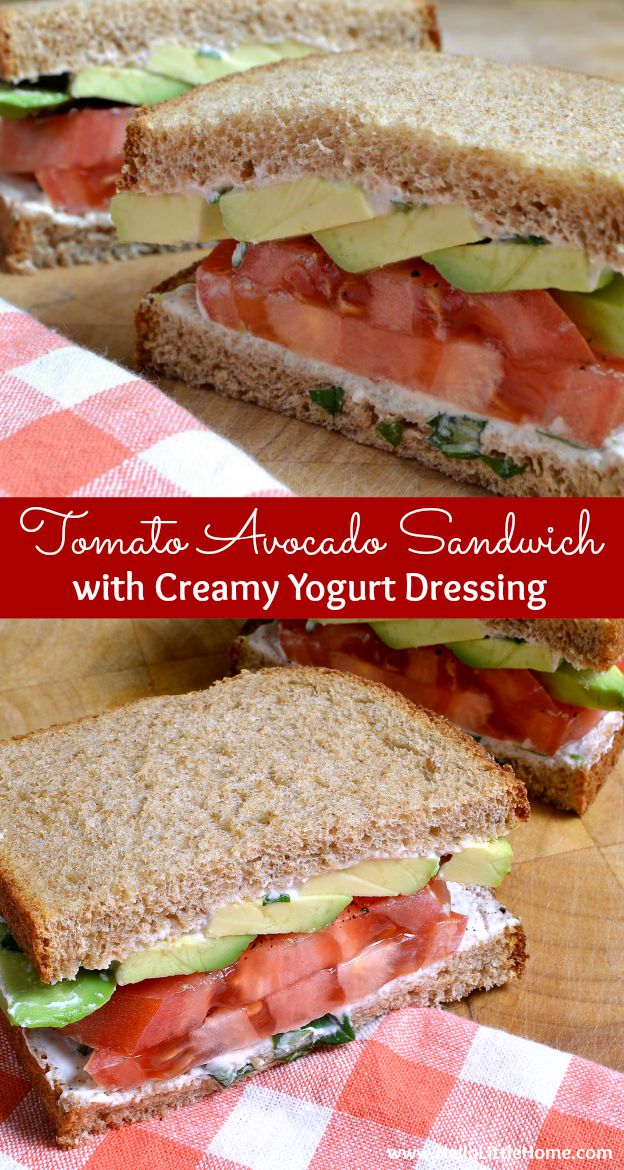 This Tomato Avocado Sandwich with Creamy Yogurt Dressing is a delicious, healthy vegetarian sandwich recipe. So easy to make and no cooking required! | Hello Little Home #sandwich #vegetarian #vegetarianrecipes #vegetariansandwich #meatlessmonday