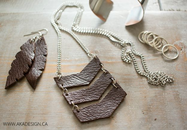 20+ DIY Jewelry Tutorials: Leather Chevron Necklace from AKA Design | Hello Little Home