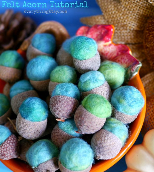 DIY Fall Decorating Ideas: Felt Acorns from Everything Etsy | Hello Little Home