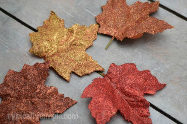 DIY Fall Decorating Ideas: Glittered Fall Leaves from Typically Simple | Hello Little Home