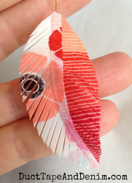 20+ DIY Jewelry Tutorials: Washi Feather Earrings from Duct Tape and Denim | Hello Little Home