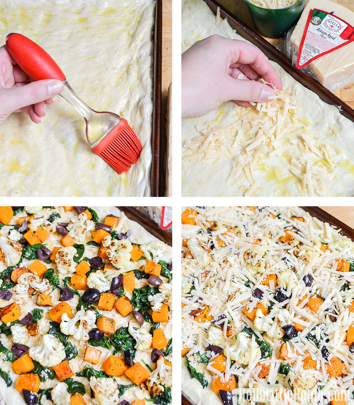 A photo collage showing the toppings being added to the fall veggie pizza.