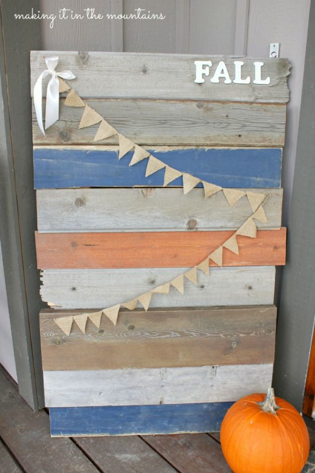 DIY Fall Decorating Ideas: Barnwood Sign from Making It in the Mountains| Hello Little Home