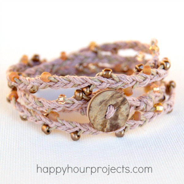 20+ DIY Jewelry Tutorials: Beaded Hemp Wrap Bracelet from Happy Hour Projects | Hello Little Home
