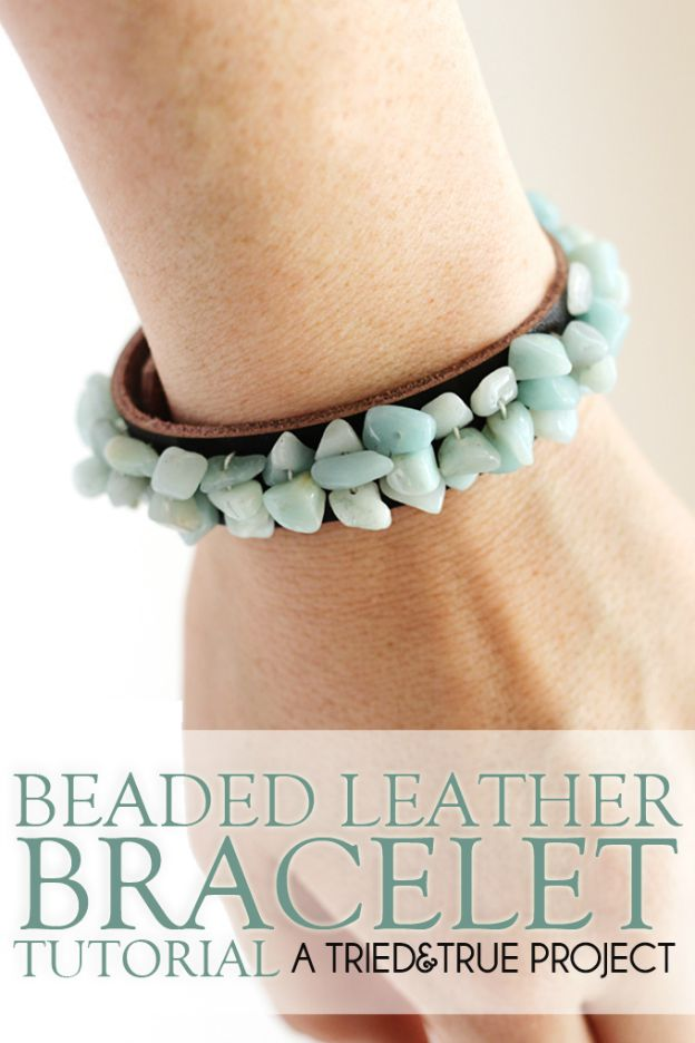 20+ DIY Jewelry Tutorials: Beaded Leather Bracelet from Tried & True | Hello Little Home