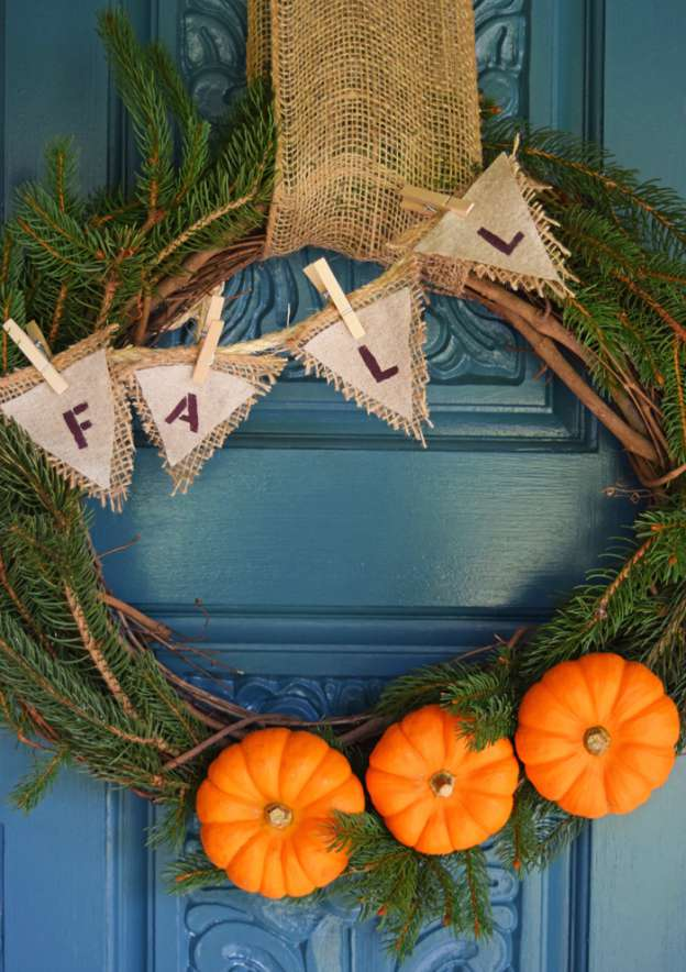 DIY Fall Decorating Ideas: Burlap and Pumpkin Wreath from Adventures of Mel | Hello Little Home