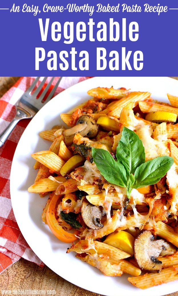 A white plate topped with Cheesy Vegetable Pasta Bake.