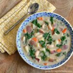 A bowl of Creamy Kale and Potato Soup.