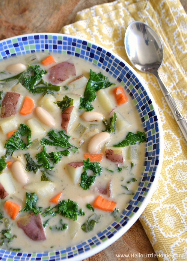 Treat yourself to a bowl of delicious Creamy Kale and Potato Soup! | Hello Little Home