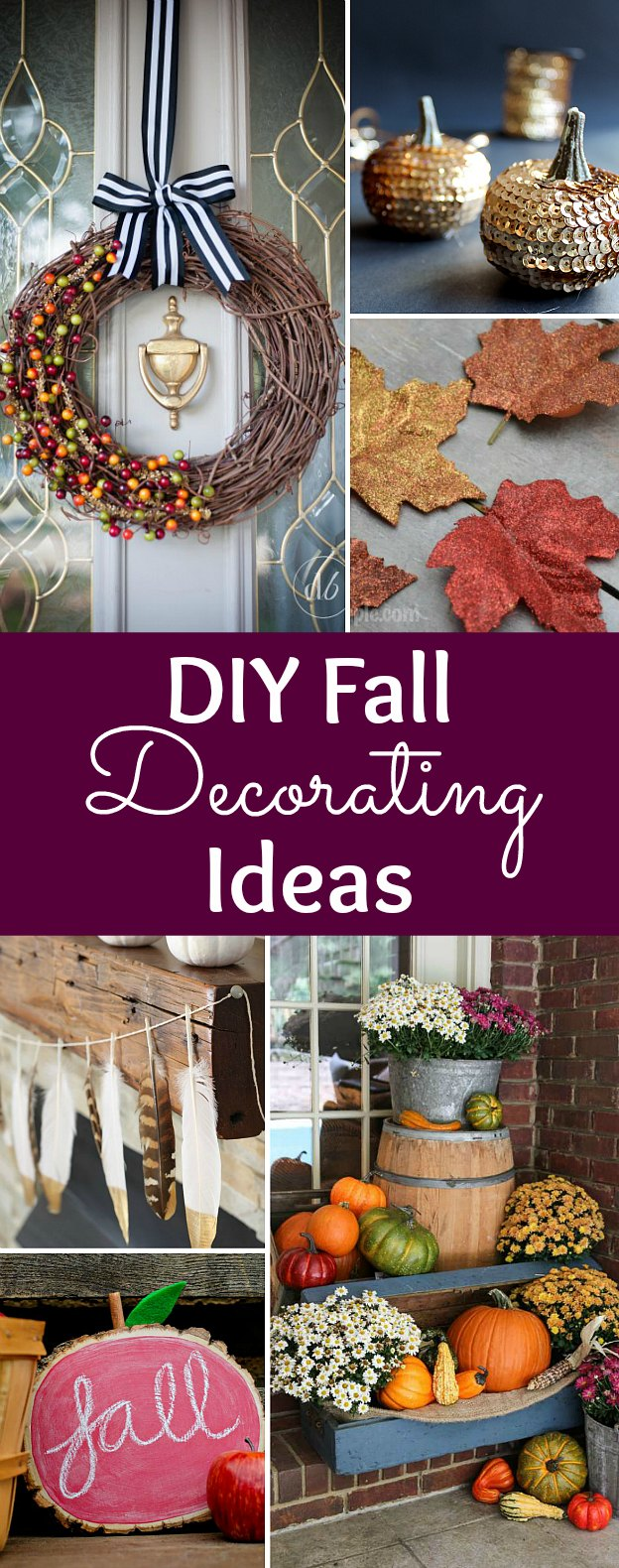 Over 20 DIY Fall Decorating Ideas! Add a touch of autumn to your home with these easy DIY fall decor ideas: wreaths, outdoor, indoor, porch, tablescapes and centerpieces, and more! These simple DIY fall crafts are perfect for homes and apartments ... all on a budget! | Hello Little Home