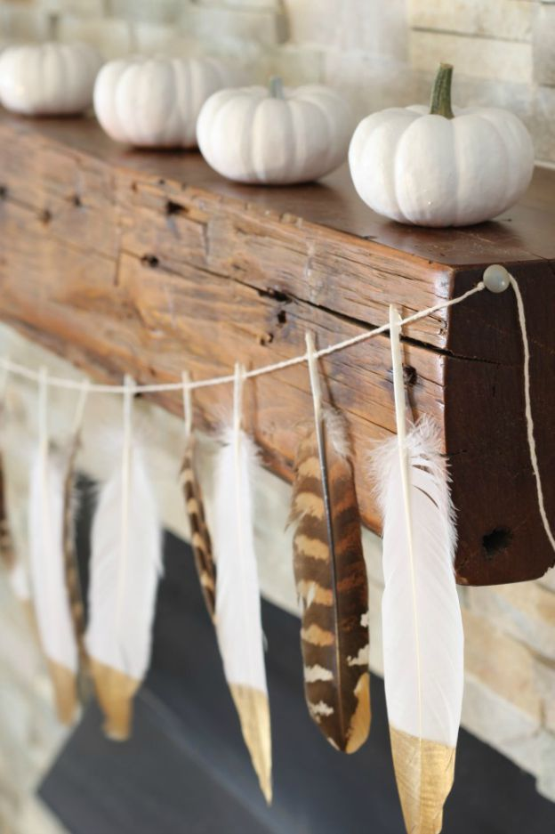 DIY Fall Decorating Ideas: Gold Tip Feather Garland from Simply Stylings | Hello Little Home