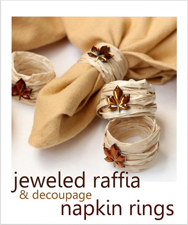 DIY Fall Decorating Ideas: Jeweled Raffia Napkin Rings from Madigan Made for Mod Podge Rocks | Hello Little Home
