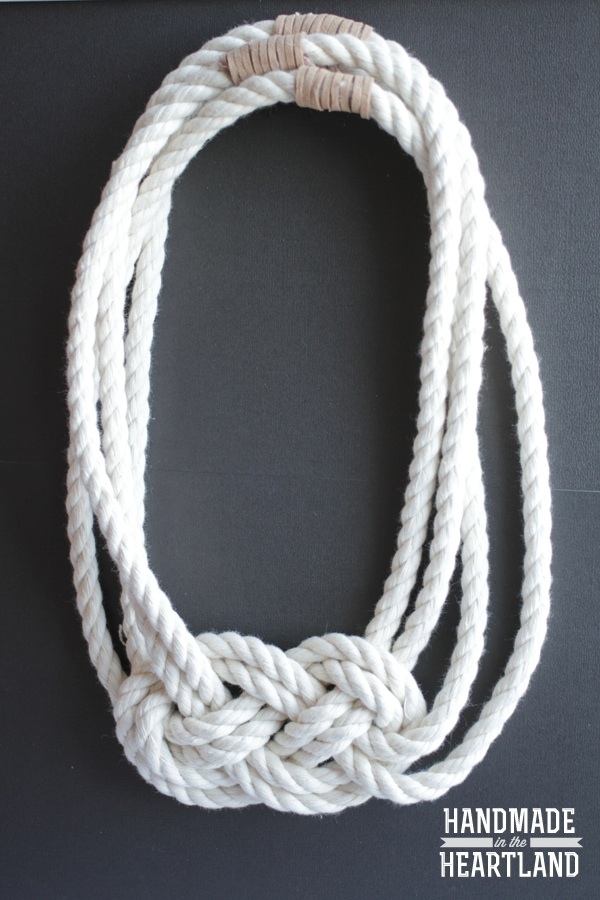 20+ DIY Jewelry Tutorials: Nautical Knot Necklace from Handmade in the Heartland | Hello Little Home