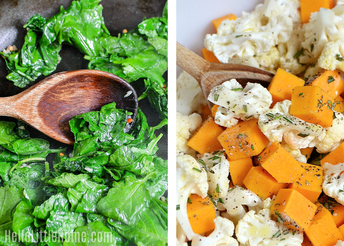 A photo collage showing kale being sauteed and a bowl of chopped veggies.