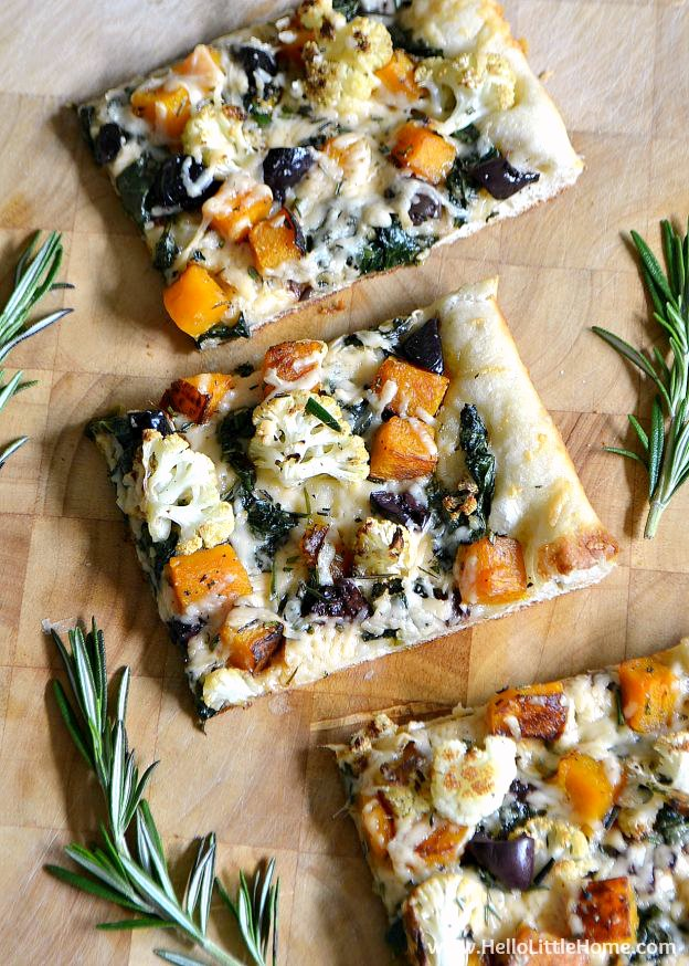 Roasted Fall Vegetable Pizza ... Get this easy recipe + 100 other vegetarian winter recipes that are perfect for any occassion! | Hello Little Home