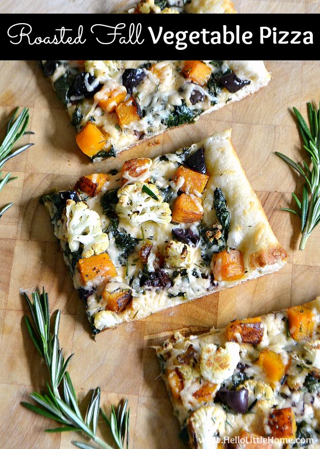 Roasted Fall Vegetable Pizza ... celebrate autumn with a delicious vegetarian pizza that's topped with all your favorite fall veggies! | Hello Little Home