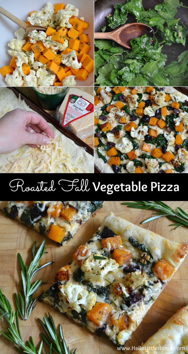 Step-by-step instructions for making an amazing Roasted Fall Vegetable Pizza! | Hello Little Home #StellaTakesManhattan #StellaCheeses
