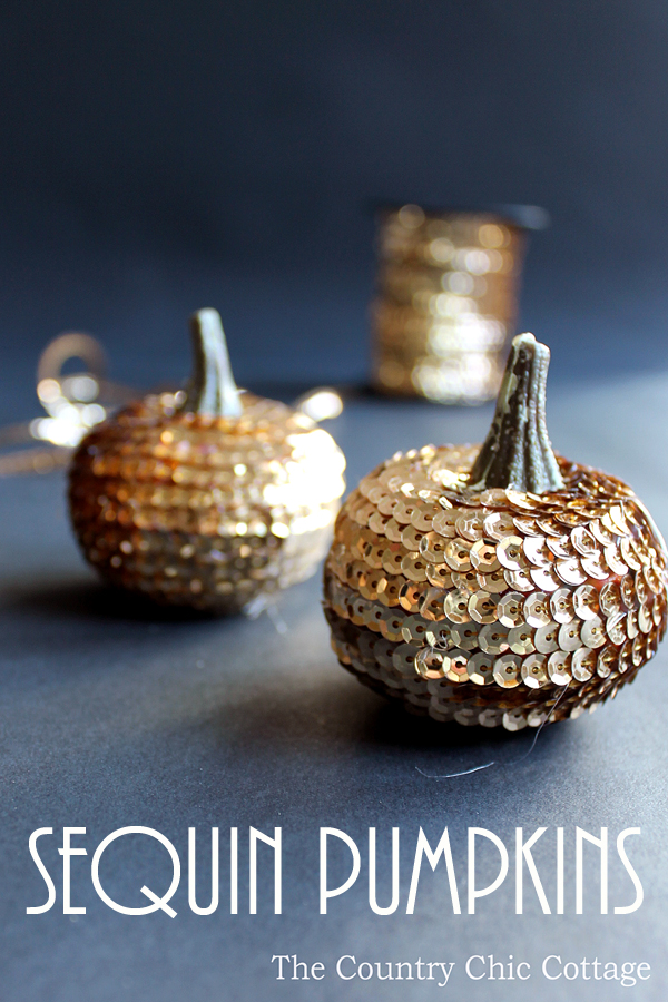 DIY Fall Decorating Ideas: Sequin Pumpkins from The Country Chic Cottage | Hello Little Home