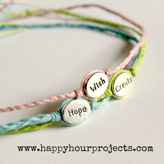20+ DIY Jewelry Tutorials: Word Bracelets from Happy Hour Projects | Hello Little Home