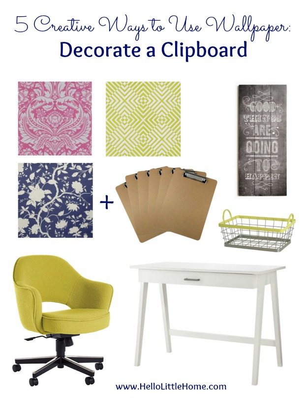 5 Creative Ways to Use Wallpaper ... other than on your walls, like decorating a clipboard! Try these easy DIY wallpaper projects to inspire your creative home decor! | Hello Little Home