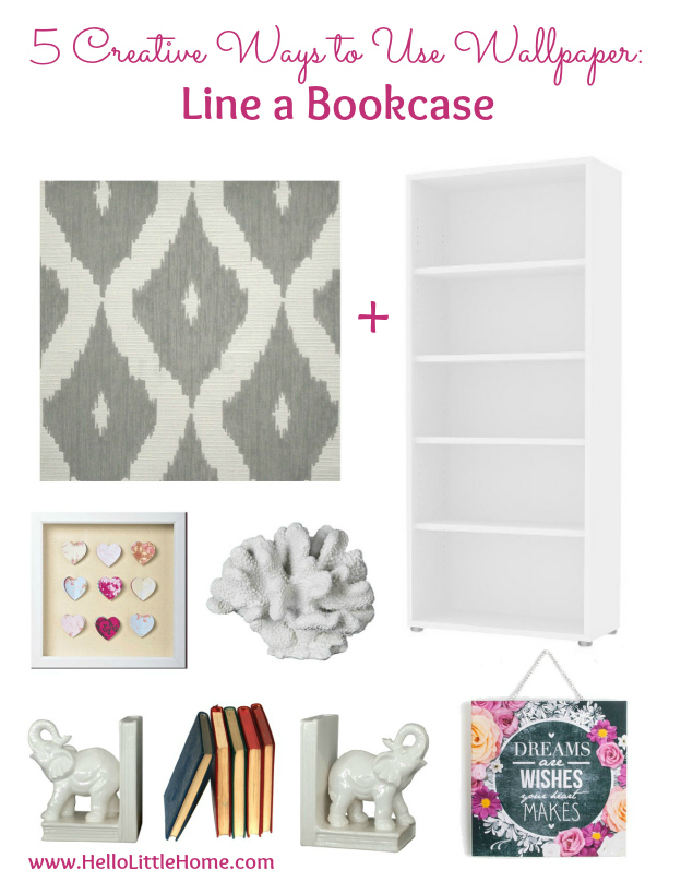 5 Creative Ways to Use Wallpaper ... other than on your walls, like lining a bookcase! Try these easy DIY wallpaper projects to inspire your creative home decor! | Hello Little Home