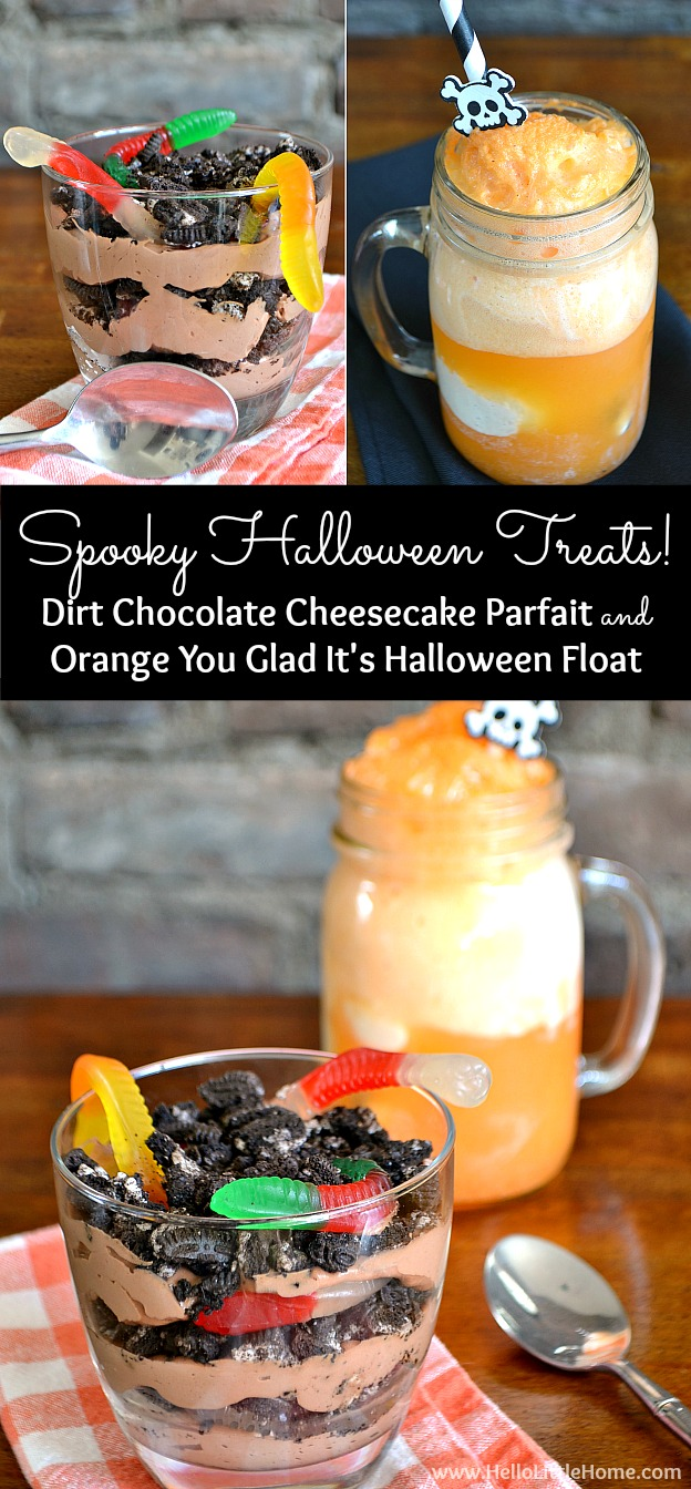 Searching for spooky Halloween treats? You are going to LOVE this Dirt Chocolate Cheesecake Parfait and Orange You Glad It's Halloween Float ... they're scary delicious! | Hello Little Home