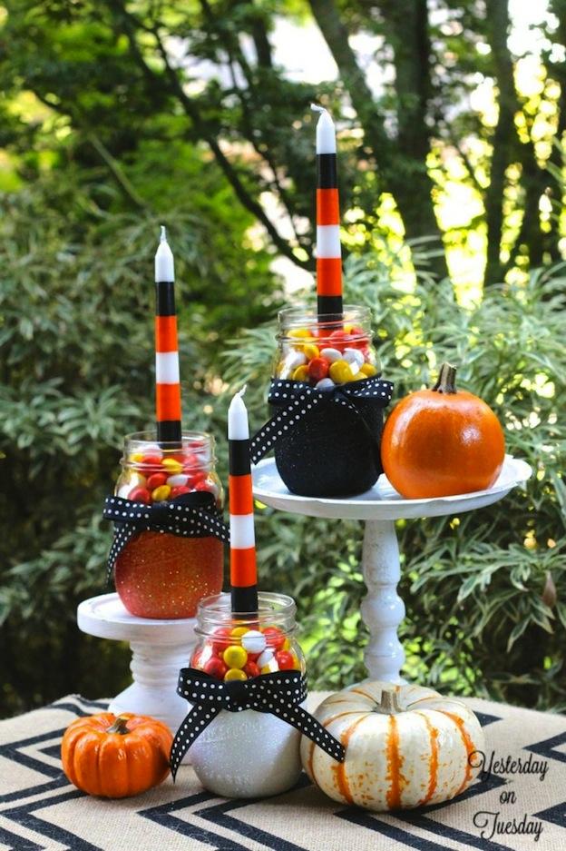 DIY Halloween Craft Ideas: Mason Jar Candle Holders | Hello Little Home