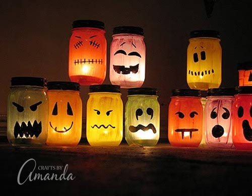DIY Halloween Craft Ideas: Painted Jar Luminaries from Crafts By Amanda | Hello Little Home