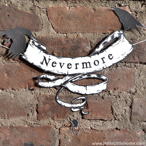 "DIY Halloween Craft Ideas: ""The Raven"" Banner | Hello Little Home"