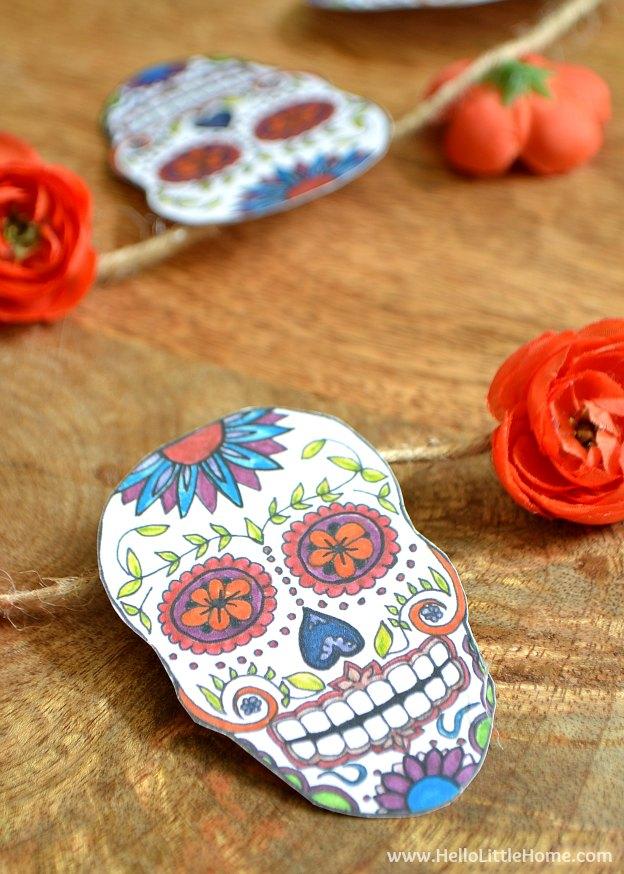 DIY Halloween Craft Ideas: Sugar Skull Banner | Hello Little Home