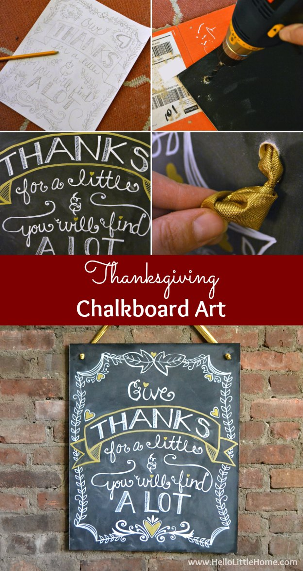 DIY Thankgiving Chalkboard Art ... greet your guests with a beautiful, custom chalkboard featuring a lovely Give Thanks quote! Don't miss this easy tutorial! | Hello Little Home
