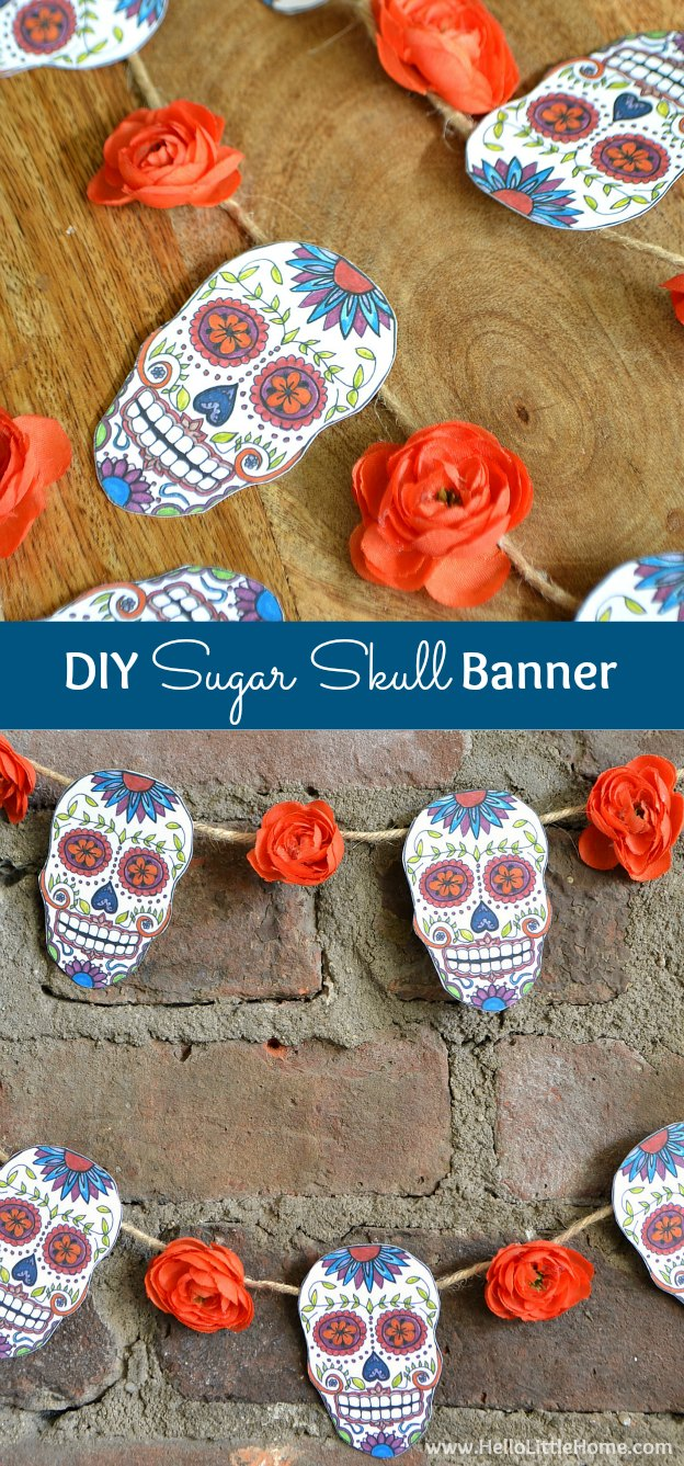 DIY Sugar Skull Banner with free printable ... perfect for decorating for Day of the Dead or Halloween! | Hello Little Home