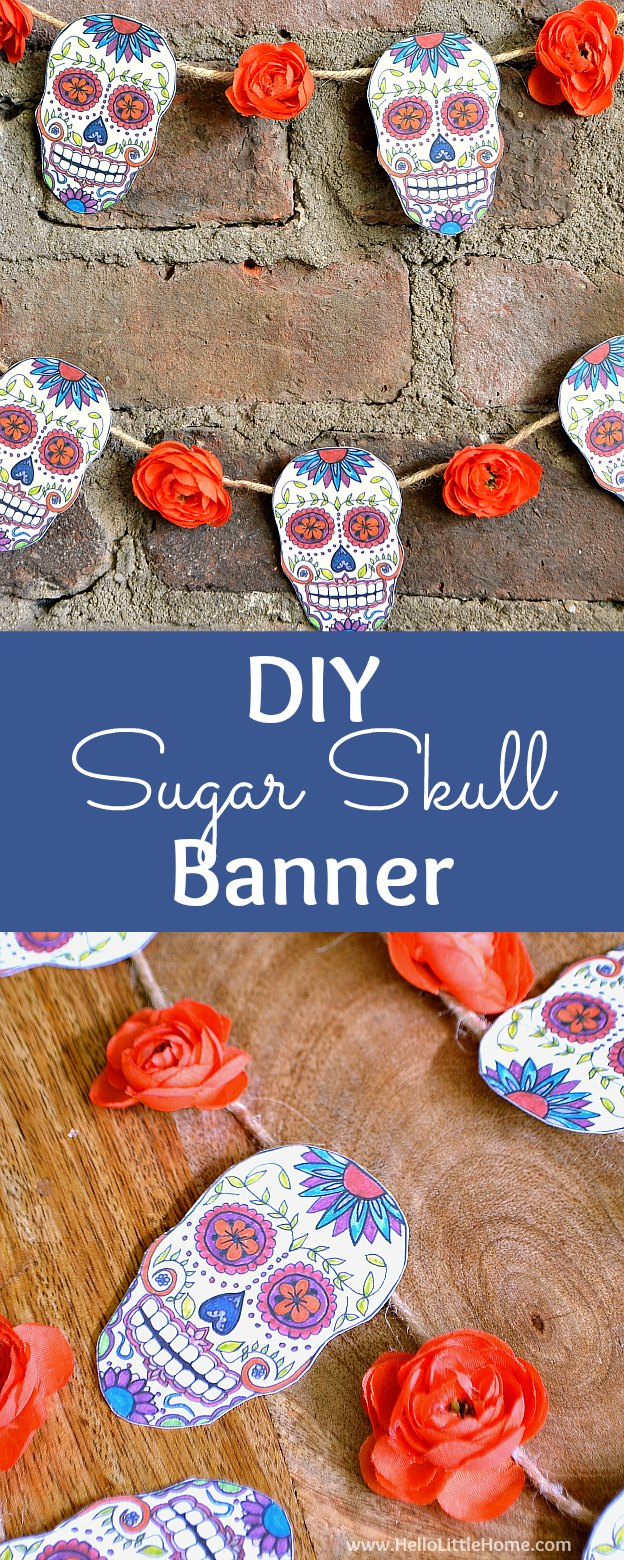DIY Sugar Skull Banner tutorial with free printable artwork! This DIY sugar skull project is a unique craft for Day of the Dead, or a fun and creative sugar skull craft idea for kids for Dia de los Muertos. Also makes a great party decoration or home decor idea for Halloween. | Hello Little Home