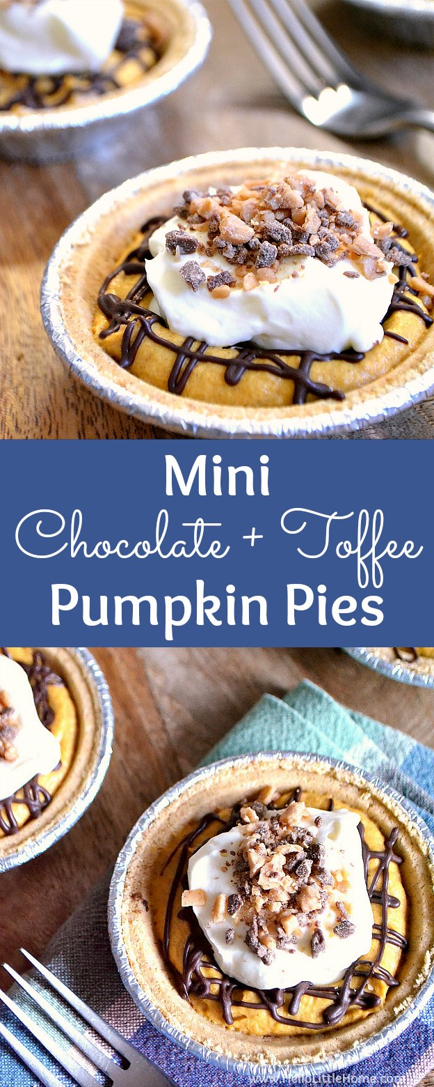 Mini Chocolate Toffee Pumpkin Pies recipe ... these adorable homemade mini pumpkin pies are the perfect Thanksgiving dessert idea! Learn how to make mini pumpkin pies with a graham cracker crust. These no bake pumpkin pie tarts have a cream cheese topping and filling that's easy and simple to make, plus so delicious. | Hello Little Home
