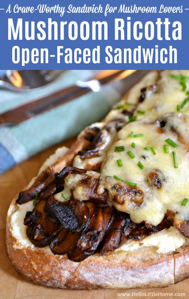 Mushroom Ricotta Open-Faced Sandwich recipe, a delicious gourmet vegetarian sandwich recipe that mushroom lovers will go nuts for! This easy hot vegetarian sandwich is total comfort food and loaded with mushrooms (use your fave, like portabella), ricotta, and ooey gooey cheese! This vegetarian Mushroom Sandwich Melt is totally crave-worthy … perfect for Meatless Monday or any night! | Hello Little Home #mushrooms #sandwich #mushroomsandwich #vegetarian #vegetarianrecipes #comfortfood