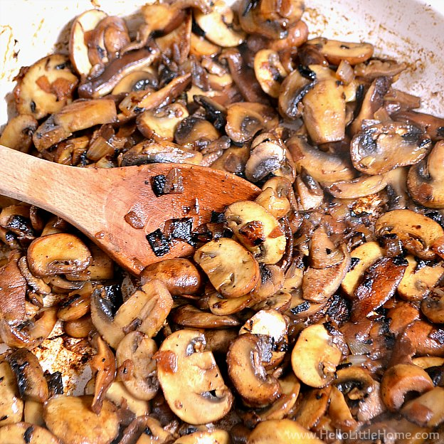 Sauteed mushrooms for a Mushroom Melt.