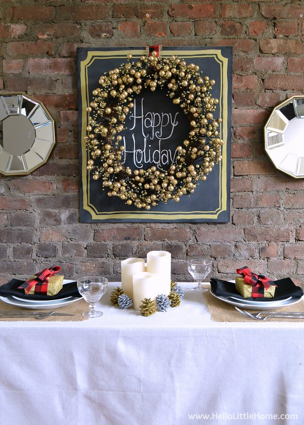 Learn how to create a Rustic Glam Holiday Dining Room that's perfect for all of your Christmas festivities! | Hello Little Home #homedepotstylechallenge