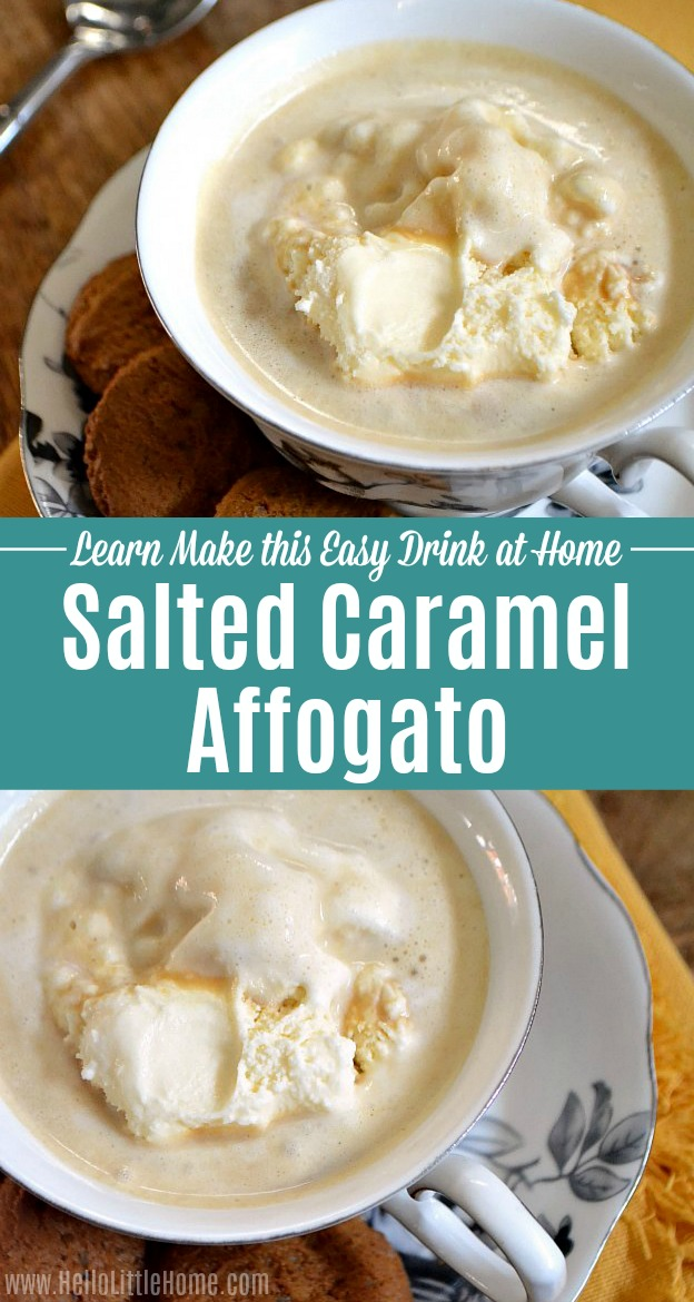 A photo collage showing two mugs of Caramel Affogato.