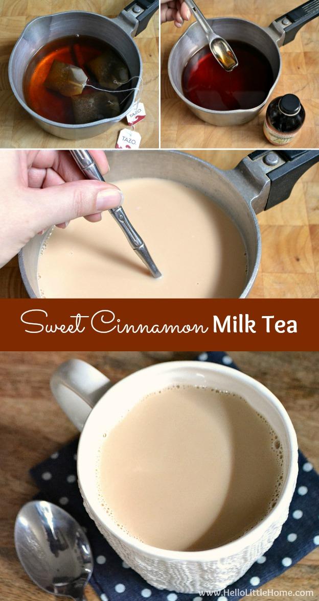 Step-by-step recipe for making Sweet Cinnamon Milk Tea! | Hello Little Home