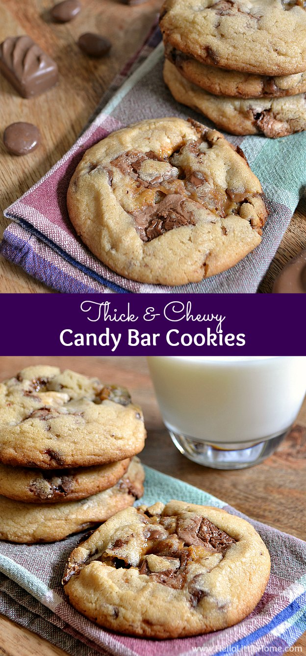 Thick and Chewy Candy Bar Cookies ... this easy cookie recipe is the tasty way to enjoy your favorite chocolate treats and are a great way to use up leftover Halloween candy! | Hello Little Home