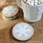 These DIY Wood Slice Snowflake Coaster make a great gift! Plus, check out our Home Gift Guide! | Hello Little Home