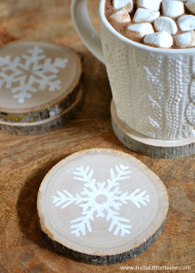 Diy wood slice snowflake coasters for Homemade coaster ideas